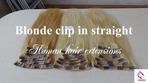 Blonde clip in straight human hair extensions